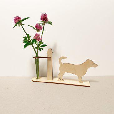 houten Jack Russell Jack Russells hond honden cadeau kado kadootje reageerbuis reageerbuisje bloem bloemetje hout houten berken laserkracht