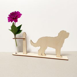 houten Labradoodle labradoodles hond honden cadeau kado kadootje reageerbuis reageerbuisje bloem bloemetje hout houten berken laserkracht