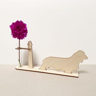 houten Langharige teckel tekkel teckels tekkels hond honden cadeau kado kadootje reageerbuis reageerbuisje bloem bloemetje hout houten berken laserkracht