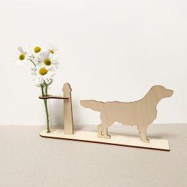 houten flatcoated retriever retrievers hond honden cadeau kado kadootje reageerbuis reageerbuisje bloem bloemetje hout houten berken laserkracht