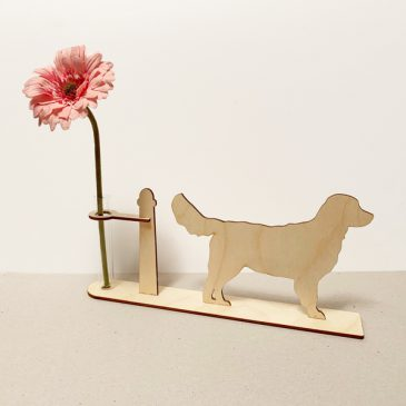 houten golden retriever retrievers hond honden cadeau kado kadootje reageerbuis reageerbuisje bloem bloemetje hout houten berken laserkracht