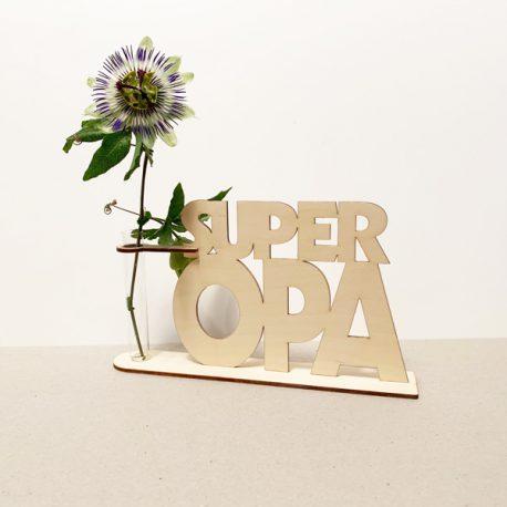 houten superopa super opa beste opa lief liefste cadeau kado kadootje reageerbuis reageerbuisje bloem bloemetje hout houten berken laserkracht