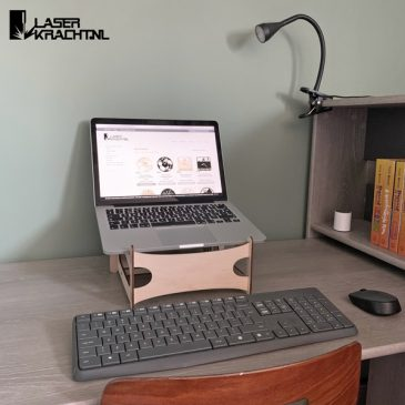 Laptopstandaard hout houten laptop standaard steun thuiswerken werken laserkracht